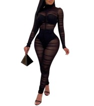 Прозрачный сексуальный клубный комбинезон Black Mesh