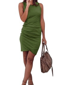O-Neck Sleeveless Ruch Dress with Wrap Hem