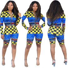 Sports Print Long Sleeve Bodycon Rompers