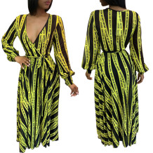 Black and Yellow Print Wrap Maxi Dress