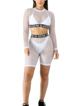 Sexy Fishnet Crop Top und Shorts