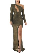 One Shoulder Sexy Slit Metallic Abendkleid
