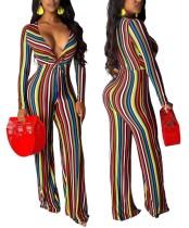 Sexy Deep-V Stripes Bunter Overall