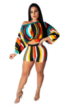 Multi-Color Stripes Crop Top and Shorts