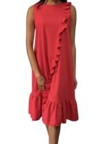 Vestido Largo Rojo Sin Mangas Con Volantes