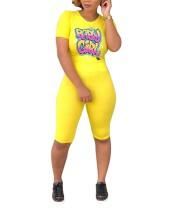 Sexy Tight Fitting Print Shirt und Shorts
