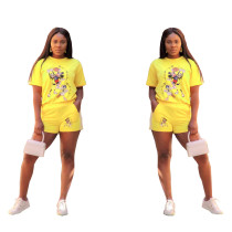 Yellow Print Cartoon Shirt and Shorts
