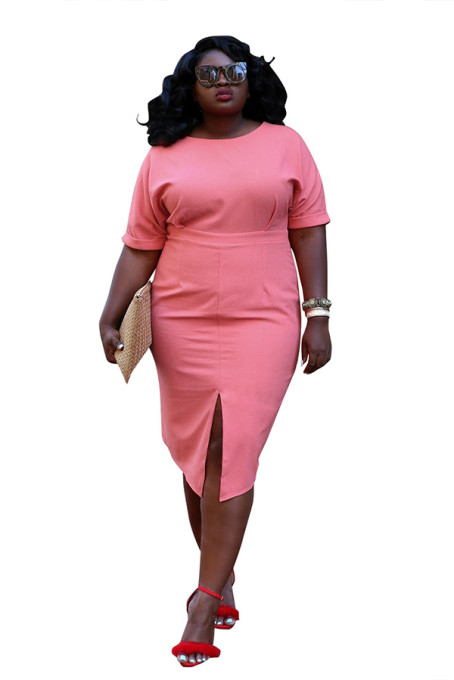 Plus Size Slit Midi Dress