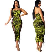 Sexy Lace Up Strapless Zebra Midi Dress