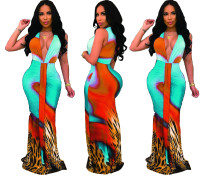 Deep-V Sexy Kleurrijke zeemeermin lange jurk