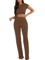 Plain Color Crop Shirt and High Waist Pants
