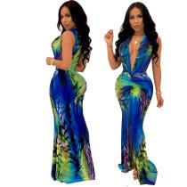 Deep-V Sexy Buntes Slit Mermaid Langes Kleid