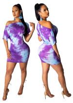 Robe moulante asymétrique batik
