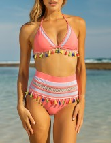 Two-Piece High Waist Hollow Out Tassel Swimwear