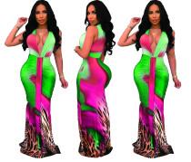 Robe longue sexy sirène colorée et profonde