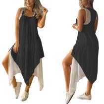 Ärmelloses, unregelmäßiges, langes, loses Kleid