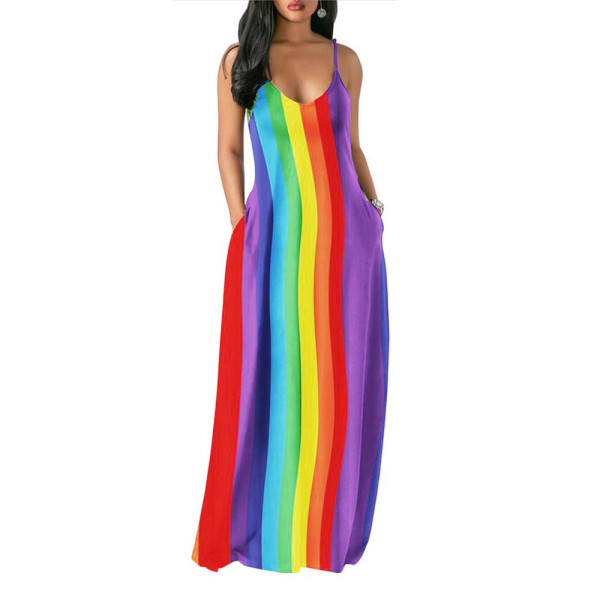 Sexy Colorful Straps Long Pocket Dress