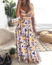 Vestido largo con tiras florales