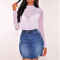 Синяя мини рваная джинсовая юбка