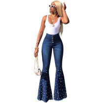 Blue High Waist Beaded Bell Jeans