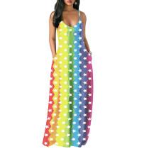 Sexy bunten Trägern lange Tasche Kleid