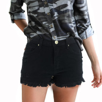 Casual Ripped Denim Short with Plush Trim
