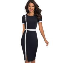 Weißes und schwarzes O-Neck Slit Midi-Kleid