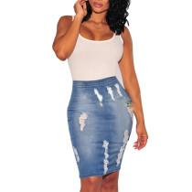 Синяя джинсовая юбка с высокой талией