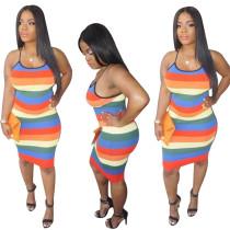 Bunte Streifen Halfter Midi-Kleid