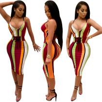 Bunten Streifen Riemen Midi-Kleid