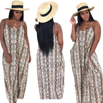 Luipaard riem lange jurk