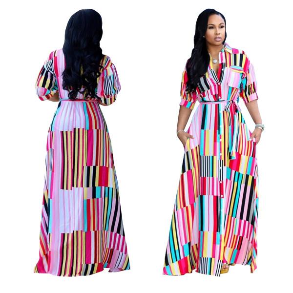 Robe longue à rayures colorées avec ceinture