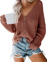 Zipper Up suéter flojo con cuello en V