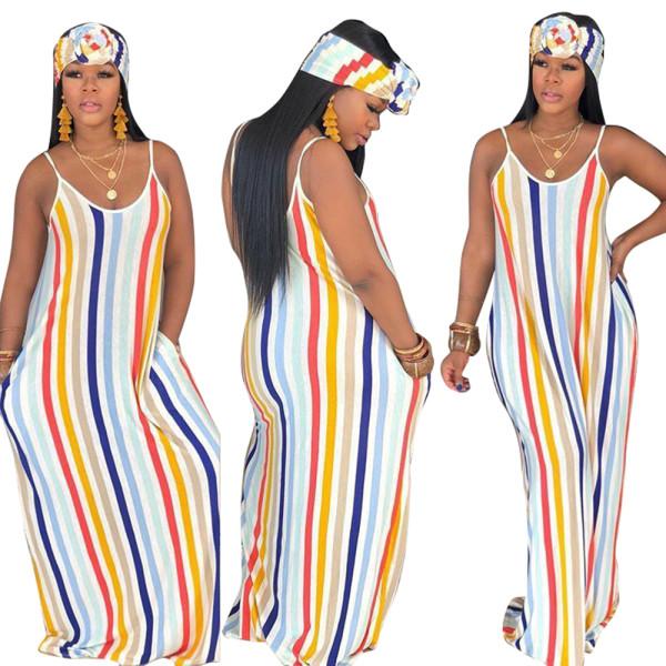 Robe longue à rayures colorées