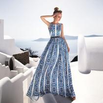 Vestido Largo Sin Mangas Retro Azul