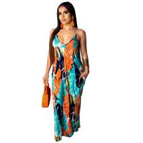Kleurrijke printriem lange jurk
