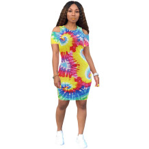 Sexy Colorful Tight Shirt Dress