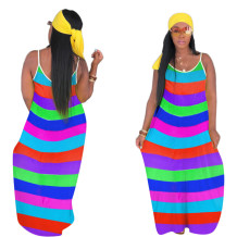 Wide Stripped Colorful Straps Long Dress