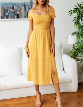 Vestido de corte largo estampado vintage