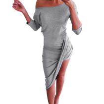 Robe longue asymétrique à épaules dénudées