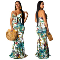 Print Cut Out Straps Long Mermaid Dress