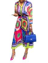 Kleurrijke geplooid Maxi-jurk