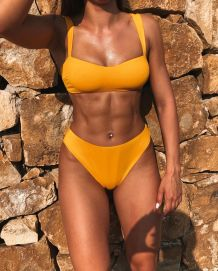 Solid Color Straps Two-Piece Swimwear
