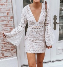 White Sexy Deep-V Mini Dress with Wide Cuffs
