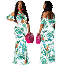 Print Cut Out Halter Long Dress