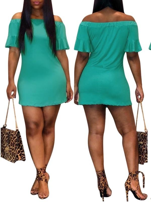 Vestido de la camisa del hombro del verde
