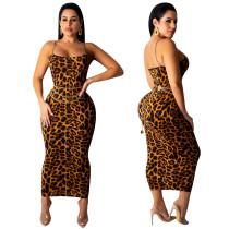 Vestido Largo Leopardo Correas Sexy