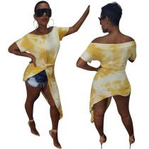 Fuera del hombro camisa de colores irregular