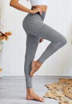 Graue Yoga-Gamaschen der Bienenwaben-hohen Taille