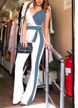 Elegante contrasterende bandjes Wrap Jumpsuit
